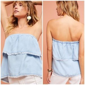 Cloth & Stone Chambray Fringe Tiered Strapless Top